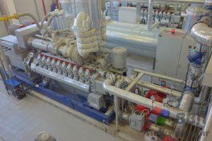 Газопоршневая установка MTU 20V4000L33. Вид сверху на ГПУ и тепловой модуль