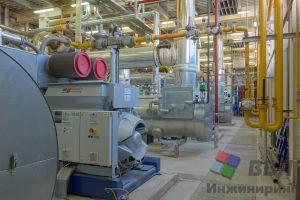 Общий вид машинного зала (шкаф MIP ГПУ, экономайзер парогенератора, обвязка мини-ТЭЦ)